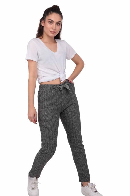 SİMİSSO - Desenli Kadın Havuç Pantolon 001 | Gri