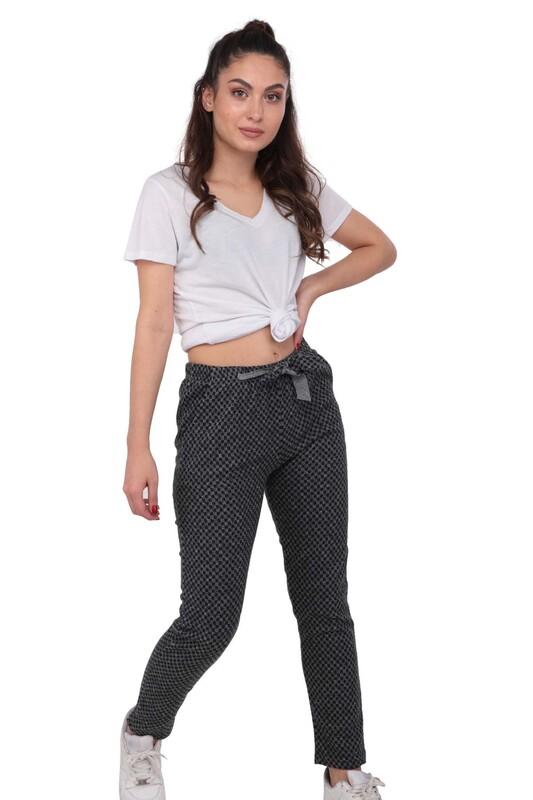 SİMİSSO - Desenli Kadın Havuç Pantolon 002 | Gri