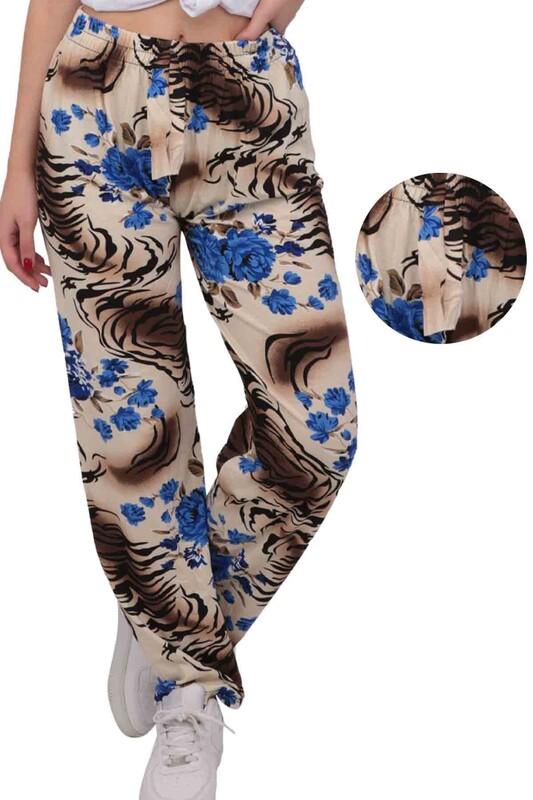 SİMİSSO - Gül Baskılı Viskon Boru Paça Kadın Pantolon | Krem