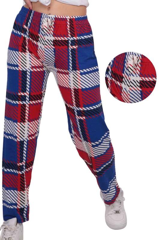 SİMİSSO - Çizgi Baskılı Viskon Boru Paça Kadın Pantolon | Mavi