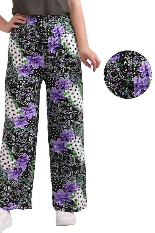 SİMİSSO - Çiçek Baskılı Viskon Boru Paça Kadın Pantolon 002 | Siyah