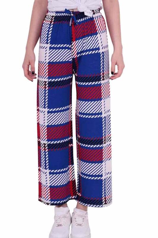 SİMİSSO - Çizgi Baskılı Viskon Geniş Paça Kadın Pantolon | Mavi