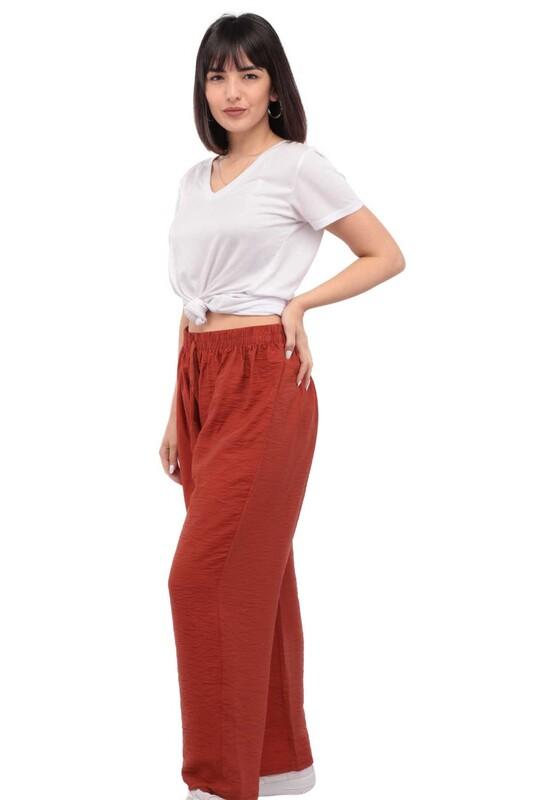 SİMİSSO - Kadın Bol Paça Pantolon | Kiremit