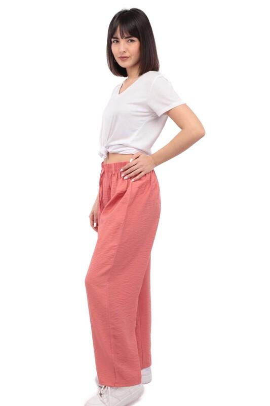 SİMİSSO - Kadın Bol Paça Pantolon | Pembe