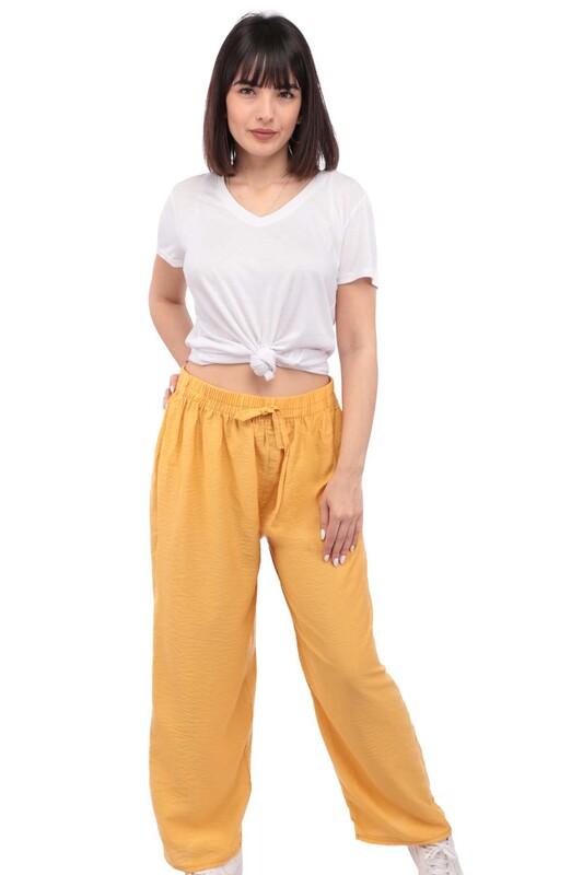 SİMİSSO - Kadın Bol Paça Pantolon | Sarı