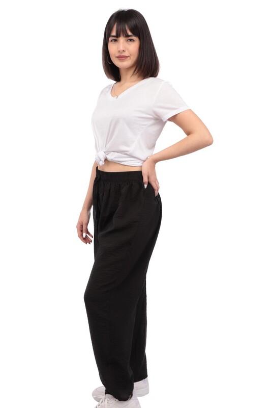 SİMİSSO - Kadın Bol Paça Pantolon | Siyah