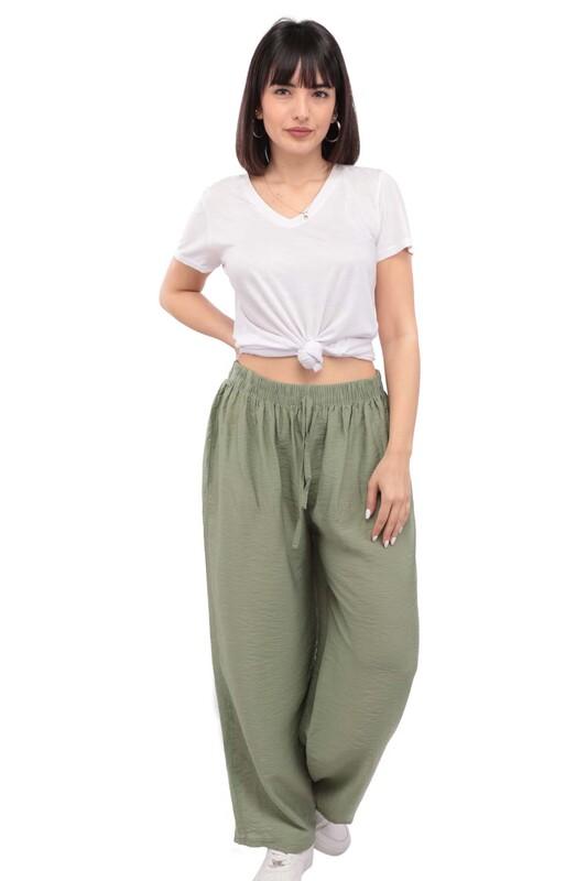 SİMİSSO - Kadın Bol Paça Pantolon | Yeşil