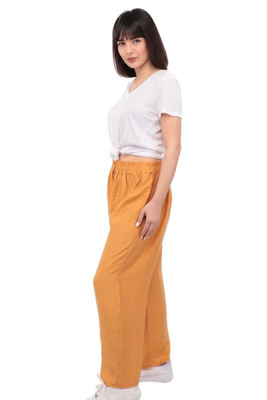 SİMİSSO - Kadın Bol Paça Pantolon | Hardal