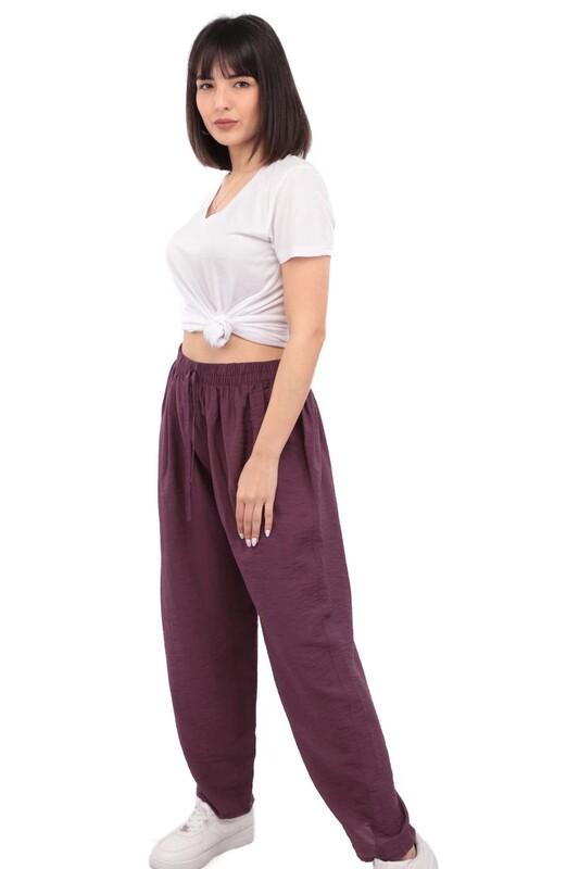 SİMİSSO - Kadın Bol Paça Pantolon | Mor