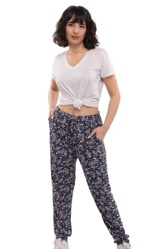 SİMİSSO - Vison Boru Paca Cepli Kadın Pantolon 1013 | Lacivert