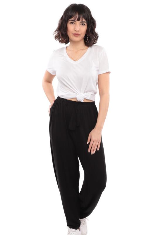 SİMİSSO - Viskon Büyük Beden Cepli Kadın Pantolon 1018 | Siyah