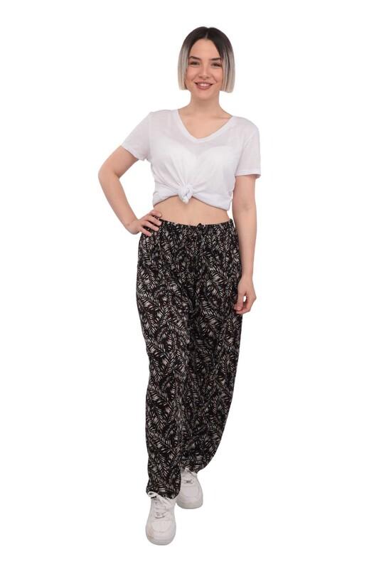 SİMİSSO - Çiçek Baskılı Viskon Kadın Pantolon | Siyah