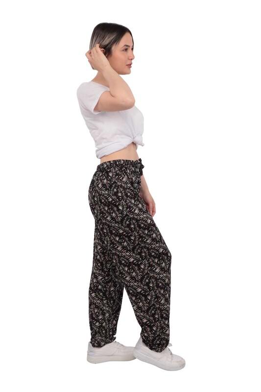 Çiçek Baskılı Viskon Kadın Pantolon   Siyah - Thumbnail