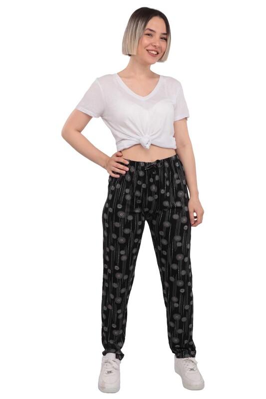 SİMİSSO - Çizgili Kadın Viskon Pantolon | Siyah