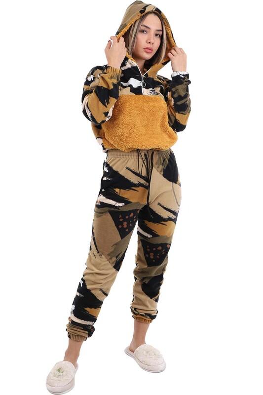 ARC - Arcan Kapüşonlu Polar Pijama Takımı 1415-1   Hardal