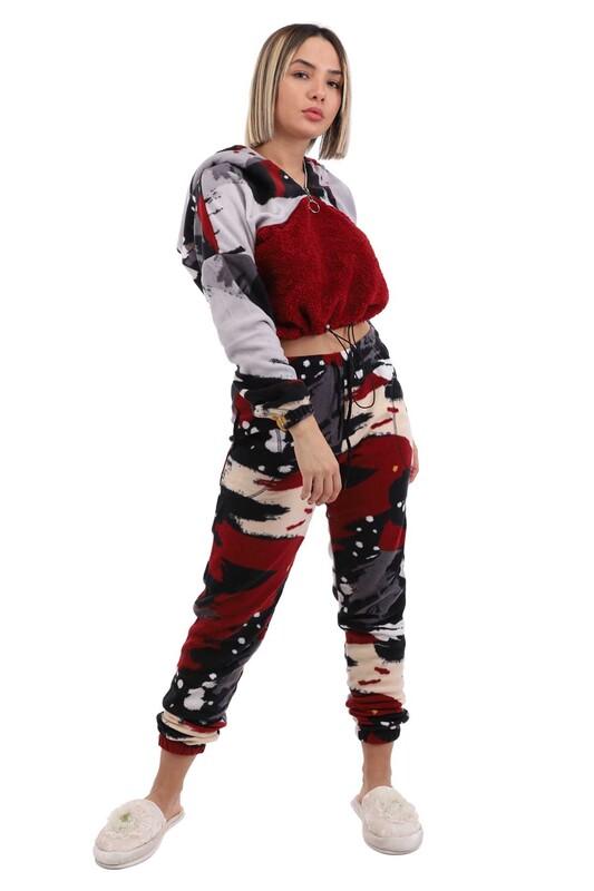 ARC - Arcan Kapüşonlu Polar Pijama Takımı 1415-3   Bordo