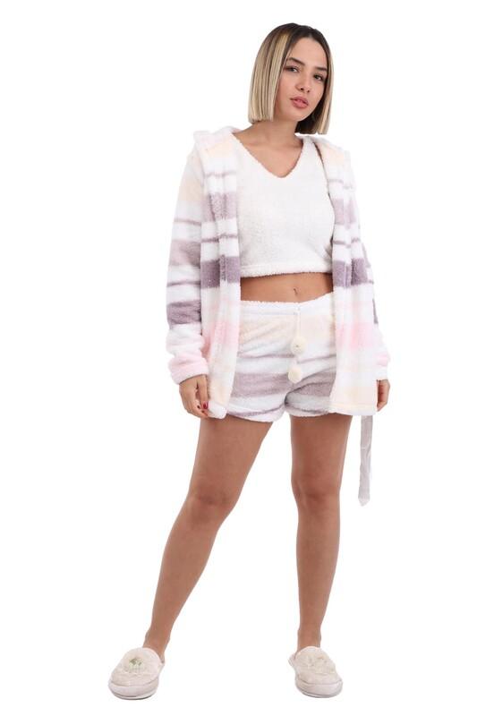 ARCAN - Arcan Sabahlıklı 3'lü Polar Pijama Takımı 1254-1   Beyaz