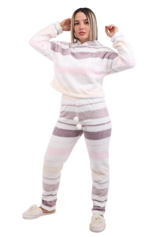 ARCAN - Arcan Çizgi Desenli Kapüşonlu Polar Pijama Takımı 1253-1   Beyaz