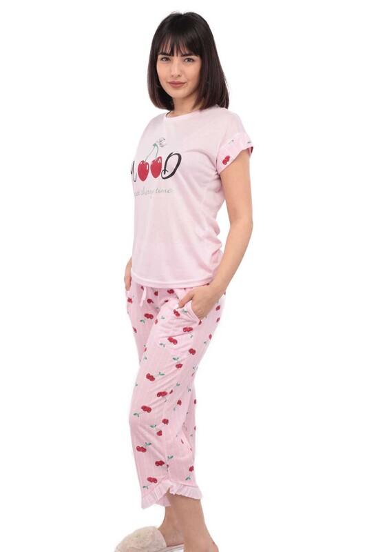ARCAN - Mihra Kiraz Baskılı Kısa Kol Kadın Kapri Pijama Takımı | Pembe
