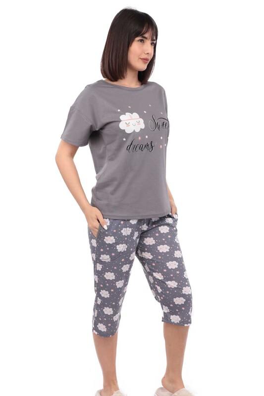 ARCAN - Arcan Bulutlu Kısa Kol Kadın Kapri Pijama Takımı | Füme