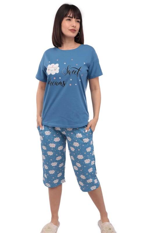 ARCAN - Arcan Bulutlu Kısa Kol Kadın Kapri Pijama Takımı | Mavi