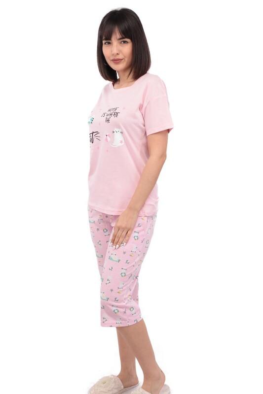 ARCAN - Arcan Kedi Desenli Kısa Kol Kadın Kapri Pijama Takımı | Pembe
