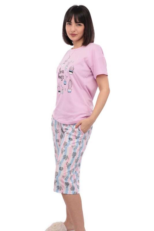 ARCAN - Arcan Kaktüs Desenli Kısa Kol Kadın Kapri Pijama Takımı | Lila