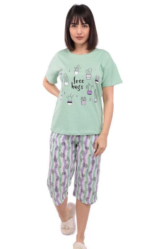 ARCAN - Arcan Kaktüs Desenli Kısa Kol Kadın Kapri Pijama Takımı | Yeşil