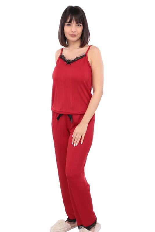 ARCAN - Arcan İp Askılı Kadın Pijama Takımı | Kırmızı