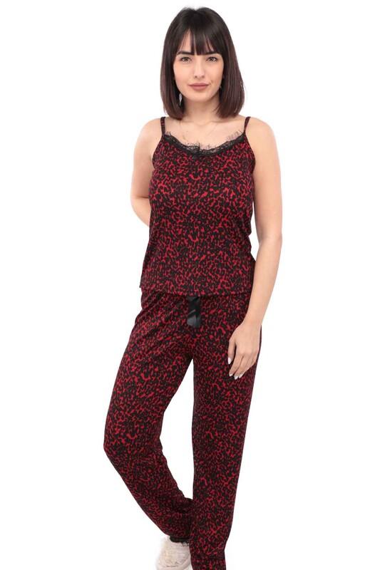 ARCAN - Arcan Desenli İp Askılı Kadın Pijama Takımı | Kırmızı