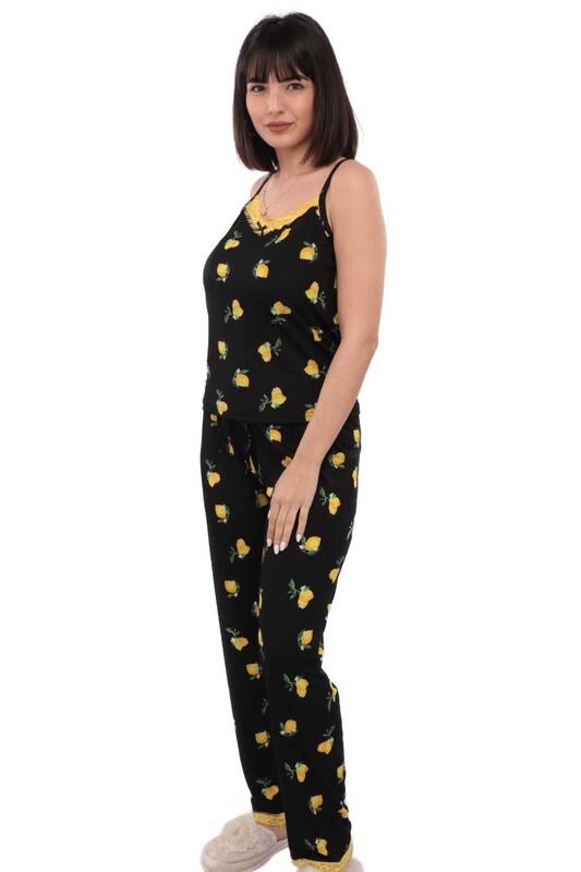 ARCAN - Arcan Limon Desenli İp Askılı Kadın Pijama Takımı 14 | Siyah
