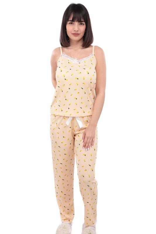 ARCAN - Arcan Limon Desenli İp Askılı Kadın Pijama Takımı 13 | Somon