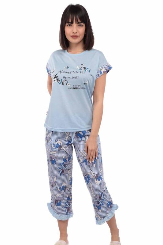 ARCAN - Mihra Çiçek Baskılı Kısa Kol Kadın Pijama Takımı | Mavi