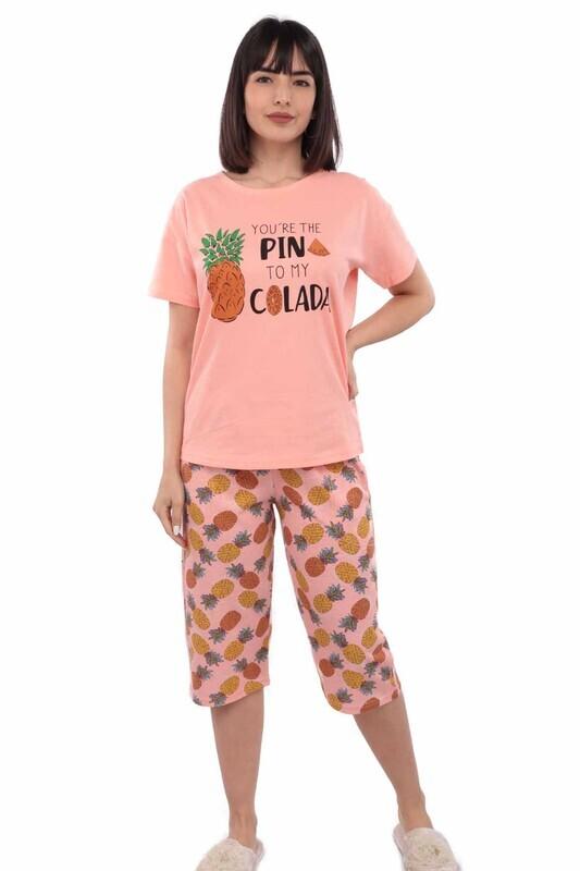 ARCAN - Arcan Ananas Desenli Kısa Kol Kadın Kapri Pijama Takımı | Somon