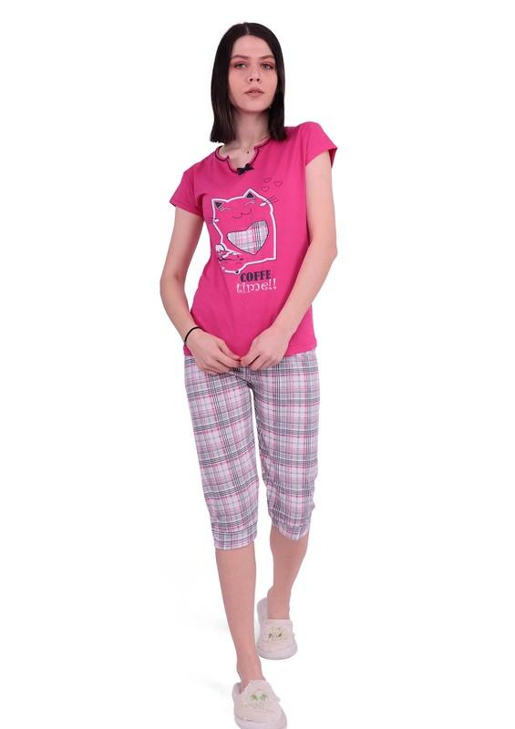 ERCAN - Ercan Dar Paça Kaprili Desenli Pijama Takımı 2806 | Pembe
