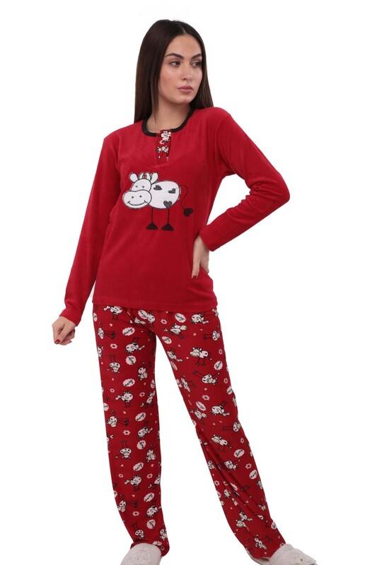 FAPİ - Fapi Boru Paçalı Desenli Kadife Pijama Takımı 3315   Kırmızı