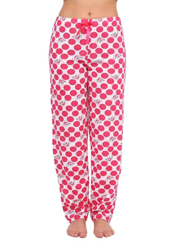 ARCAN - Arcan Boru Paça Tavşan ve Puantiye Desenli Fuşya Pijama Altı 023 | Pembe