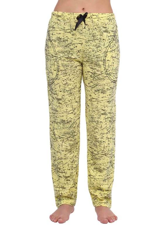 ARCAN - Dar Paçalı Flam Desenli Pijama Altı 033   Sarı