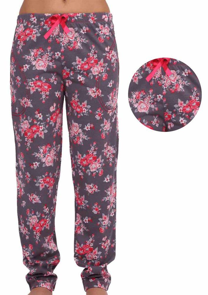 Cepli Dar Paçalı Gül Desenli Pijama Altı 032 | Füme Pembe