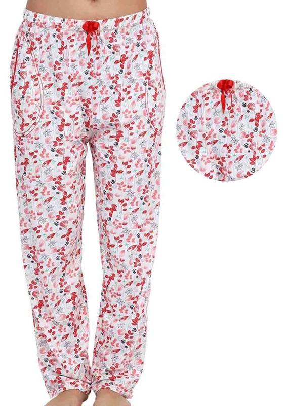 ARCAN - Boru Paçalı Yaprak Desenli Pijama Altı 030   Kırmızı