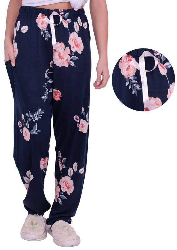 ARCAN - Çiçek Desenli Kadın Pijama Altı | Lacivert