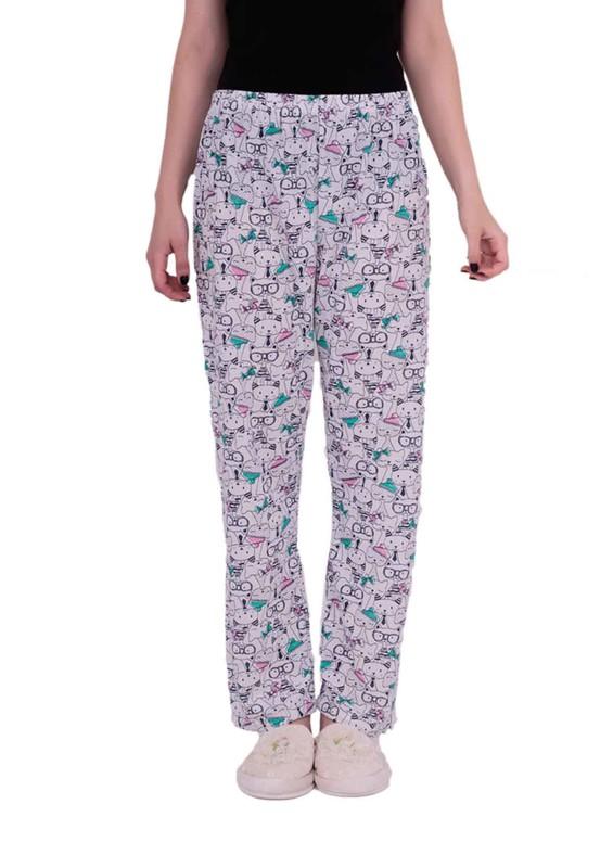 ARSLAN - Boru Paçalı Desenli Büyük Beden Pijama Altı 210   Beyaz