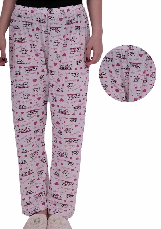 ARSLAN - Boru Paçalı Desenli Kalpli Büyük Beden Pijama Altı 211   Beyaz