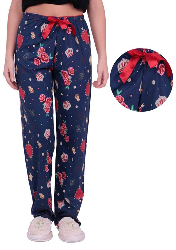 DOĞA - Gül Baskılı Kadın Pijama Altı   Lacivert