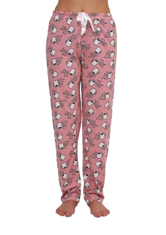 FAMES - Dar Paçalı Bardak Desenli Pijama Altı Renk Seçenekleri İle 006 | Pudra