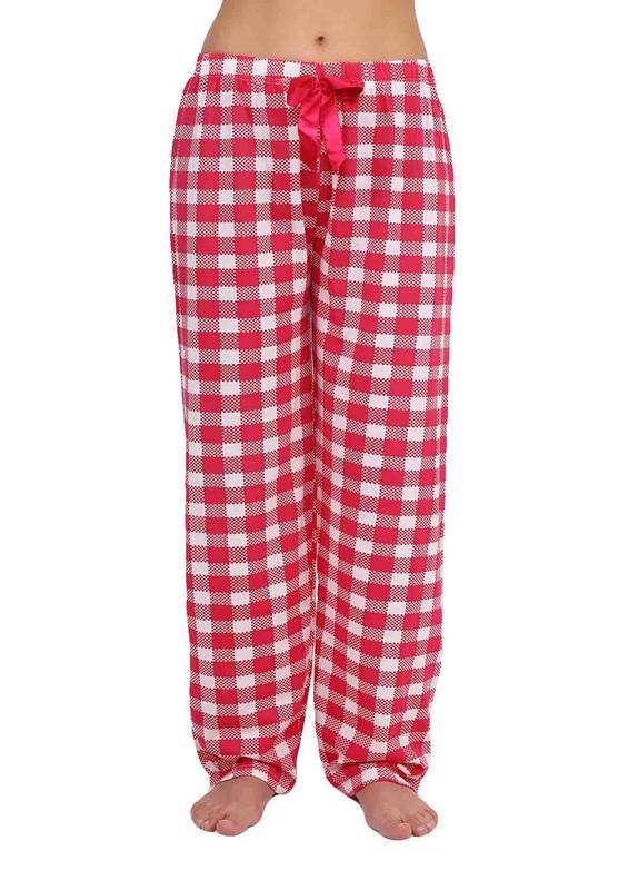 LİNDROS - Kareli Dar Paçalı Pijama Altı 2112   Pembe