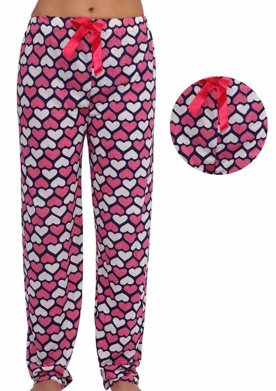 LİNDROS - Dar Paçalı Kalpli Kurdeleli Pijama Altı 246 | Lacivert