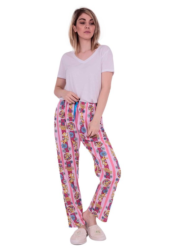 MODASEN - Boru Paçalı Beli Lastikli Desenli Pijama Altı 230 | Pembe