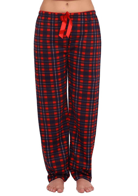 Boru Paçalı Kareli Pijama Altı 089 | Lacivert - Thumbnail