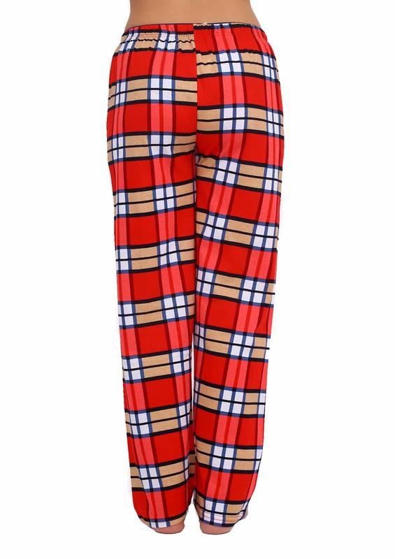 Boru Paçalı Kareli Pijama Altı 095 | Kırmızı - Thumbnail